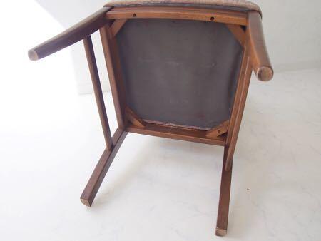 カリモク ダイニング チェア 木製 椅子 オリエンタル インテリア 什器 古道具  昭和 レトロ ブロカント_画像6