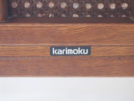 カリモク ダイニング チェア 木製 椅子 オリエンタル インテリア 什器 古道具  昭和 レトロ ブロカント_画像3