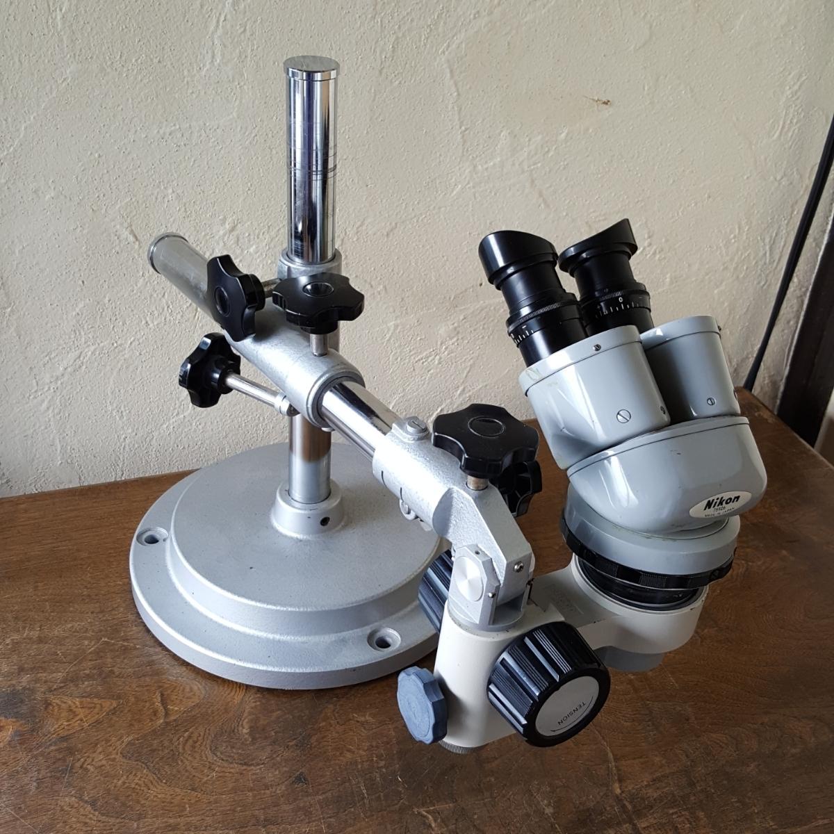 NIKON 実体顕微鏡 レンズ N10x SEIKO 日本製 検査 精密 機器 病院 歯科 顕微鏡 計器 接眼 双眼 ニコン セイコー スタンド 台座 中古 現状