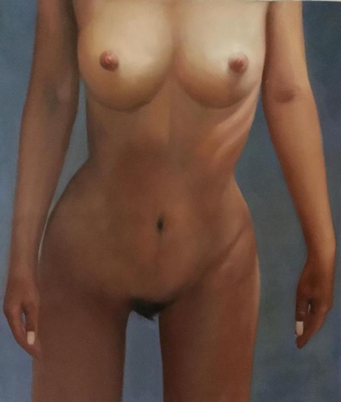 ◆Modern Art◆肉筆☆油絵☆『②等身大の裸婦/紗枝』F20サイズ縦描き上下2枚_画像2