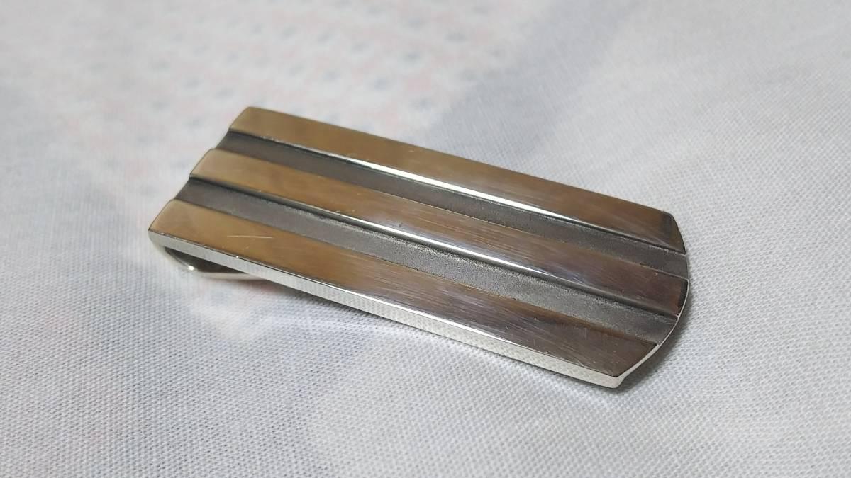正規良レア TIFFANY&COティファニー クラシック ウェーブストライプ マネークリップ 4.8×1.7cm シルバー925 財布 札入れ ヴィンテージT&Co