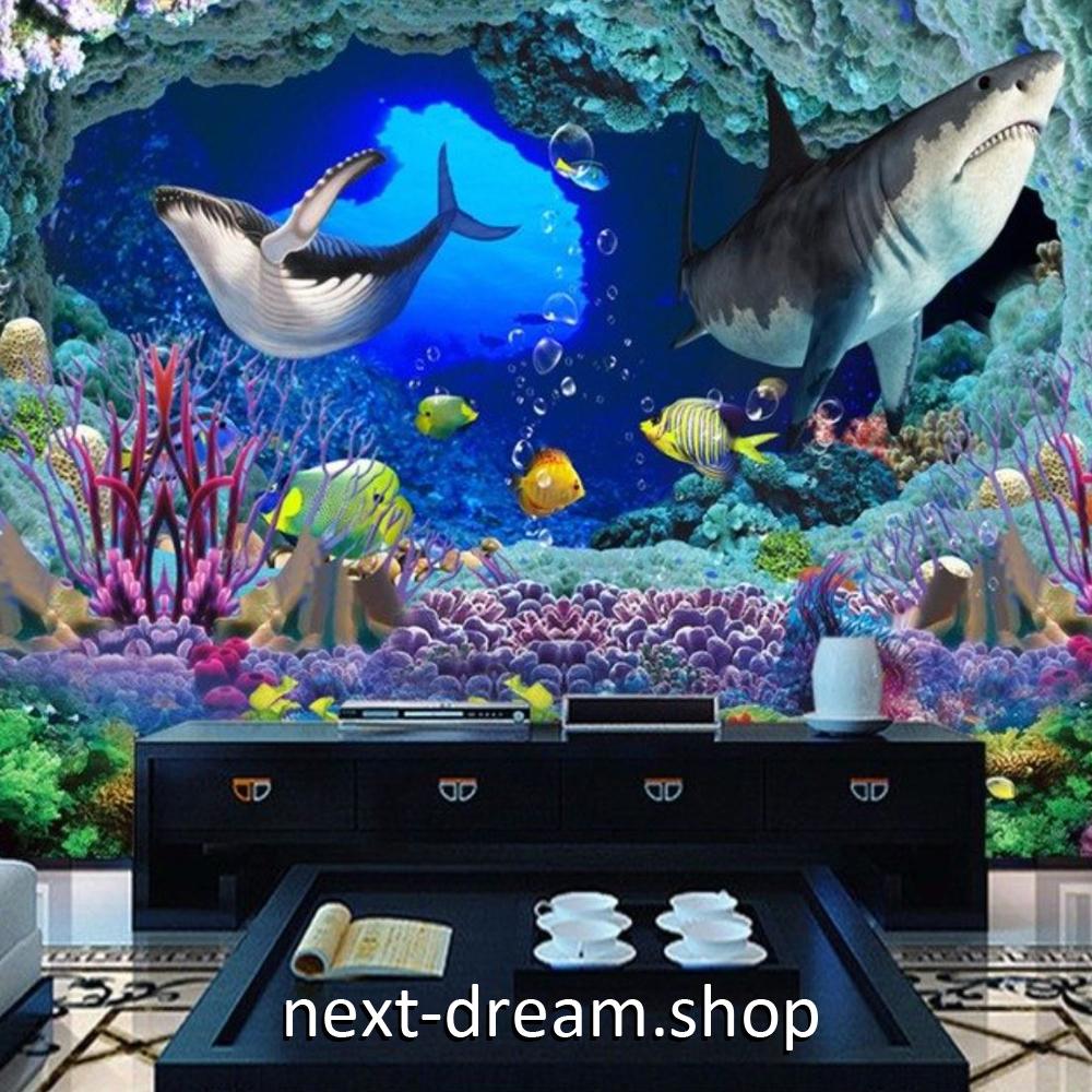 ヤフオク 3d 壁紙 1ピース 1 子供部屋 海中散歩 サメ