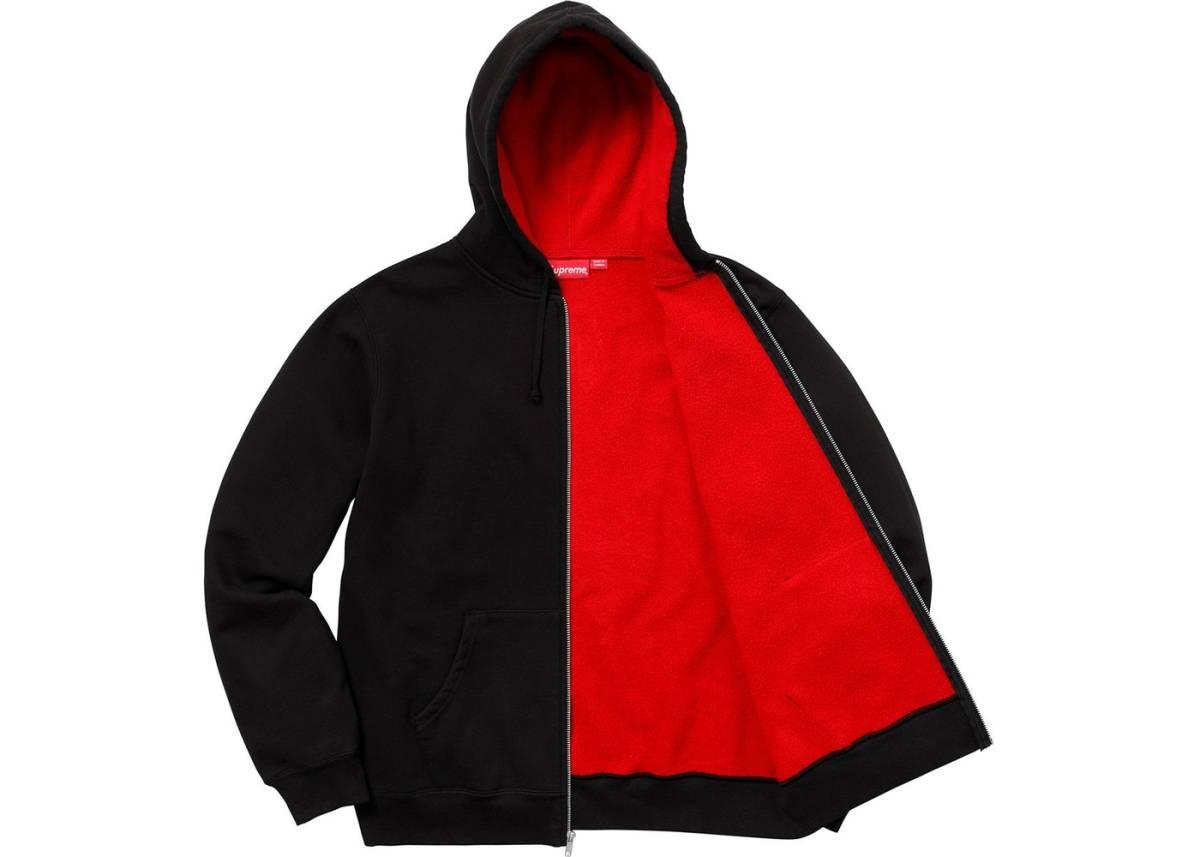 S 新品■2018SS■SupremeシュプリームContrast Zip Up Hooded Sweatshirtスウェットパーカーsmall box logo黒ブラック2018春夏ボックスロゴ_画像2