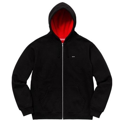 S 新品■2018SS■SupremeシュプリームContrast Zip Up Hooded Sweatshirtスウェットパーカーsmall box logo黒ブラック2018春夏ボックスロゴ