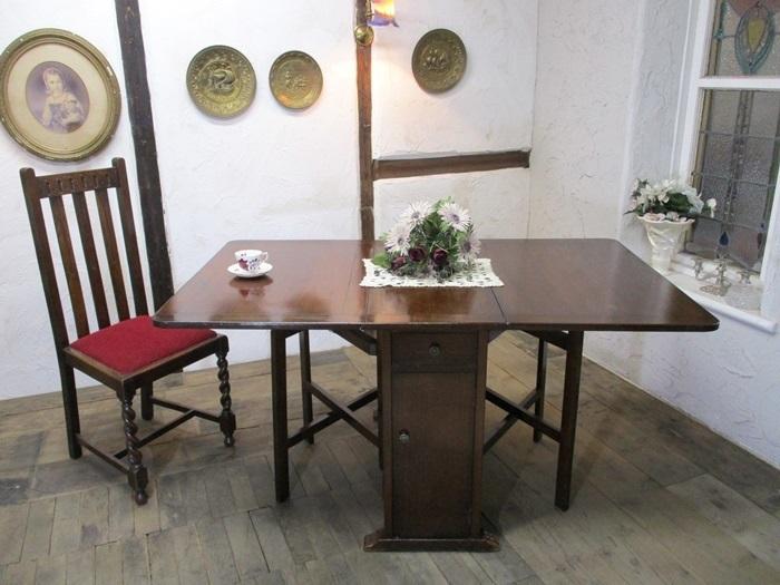 6717a ◆即決*バタフライテーブル*ゲートレッグテーブル*木製*オーク材*店舗什器*家具*イギリス*英国*アンティーク_画像1