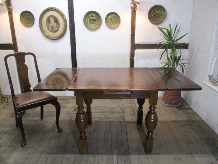 6725a ◆即決*ダイニングテーブル*ドローリーフテーブル*拡張式テーブル*オーク材*イギリス*英国家具*アンティーク_画像1