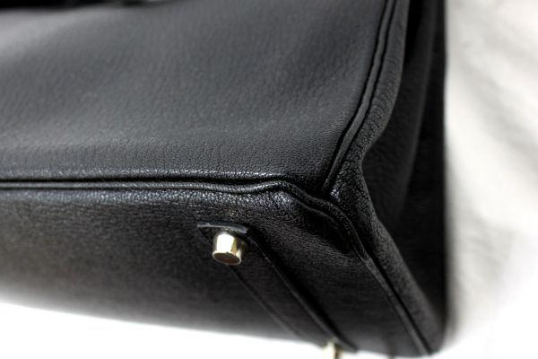 ■新品同様 極上品 超美品 エルメス Herms バーキン35 シェーブル コロマンデル ハンドバッグ 山羊 ブラック 黒 シルバー金具 Z1804_画像7