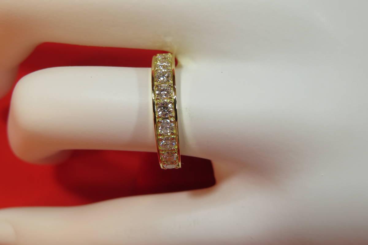 新品 k18 イエローゴールド台 ダイヤモンド エタニティ― リング   3.78 g    11 石_画像1