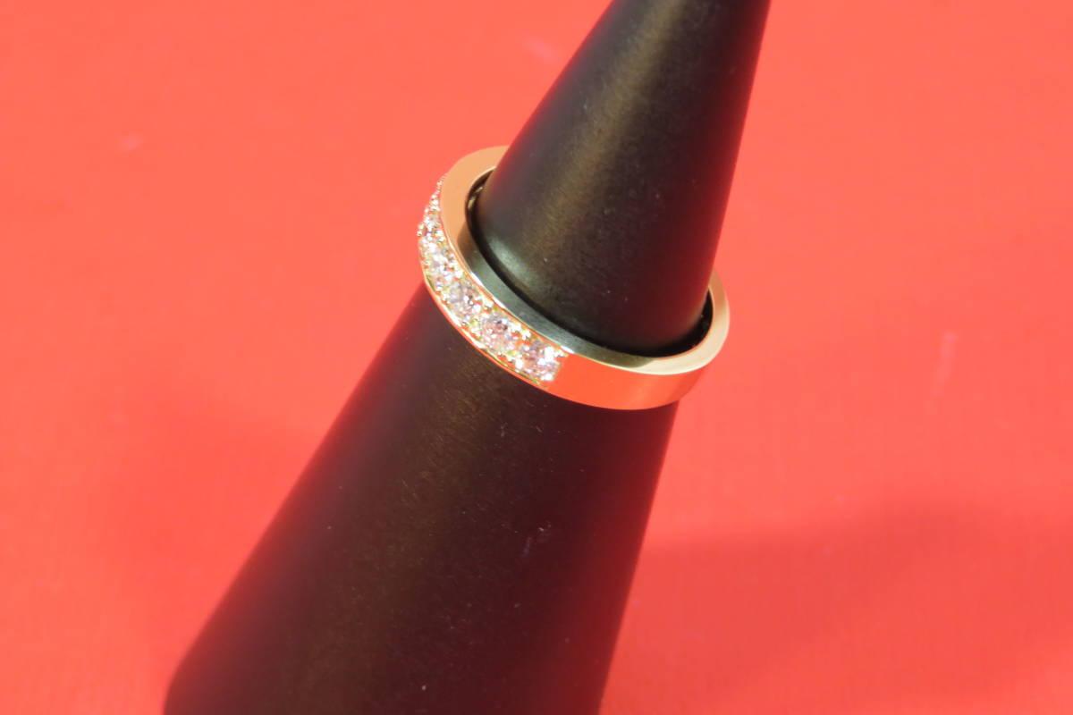 新品 k18 イエローゴールド台 ダイヤモンド エタニティ― リング   3.78 g    11 石_画像3