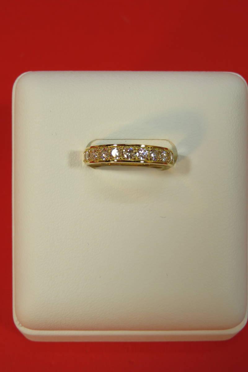 新品 k18 イエローゴールド台 ダイヤモンド エタニティ― リング   3.78 g    11 石_画像2