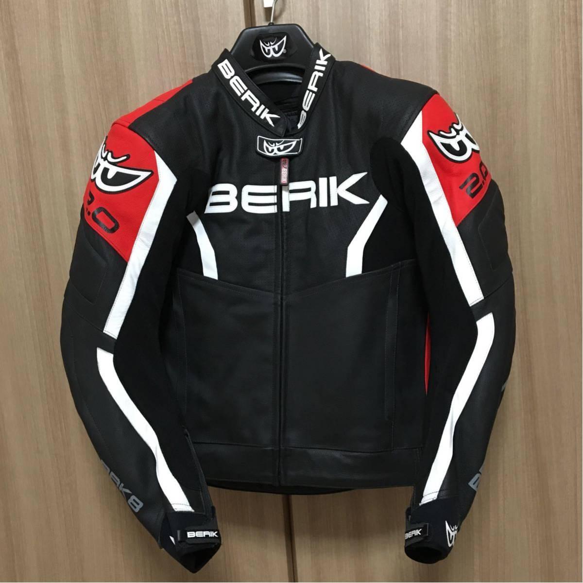 ◆BERIK 2.0【ベリック】◆10546RED 黒赤◆サイズ 52 ◆牛革 レーシングレザージャケット◆プロテクター◆中古美品 最落なし 売切り