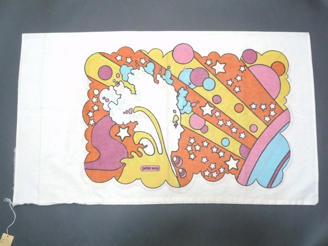 60~70's ビンテージ peter max ピーターマックス ピローケース 枕カバー 横顔 サイケ ヒッピー 両面プリント 50cm×86.5cm 布 飾りに_画像1