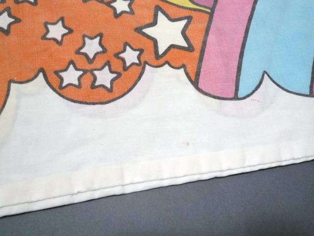 60~70's ビンテージ peter max ピーターマックス ピローケース 枕カバー 横顔 サイケ ヒッピー 両面プリント 50cm×86.5cm 布 飾りに_画像6