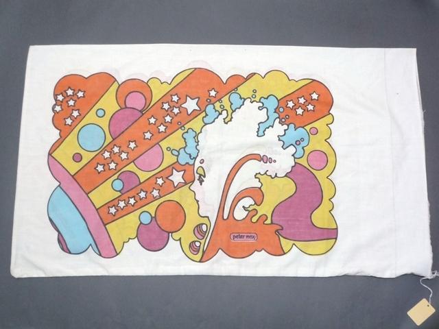 60~70's ビンテージ peter max ピーターマックス ピローケース 枕カバー 横顔 サイケ ヒッピー 両面プリント 50cm×86.5cm 布 飾りに_画像2