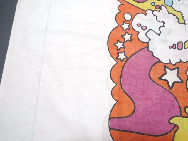 60~70's ビンテージ peter max ピーターマックス ピローケース 枕カバー 横顔 サイケ ヒッピー 両面プリント 50cm×86.5cm 布 飾りに_画像4