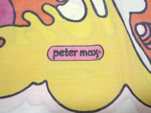 60~70's ビンテージ peter max ピーターマックス ピローケース 枕カバー 横顔 サイケ ヒッピー 両面プリント 50cm×86.5cm 布 飾りに_画像3