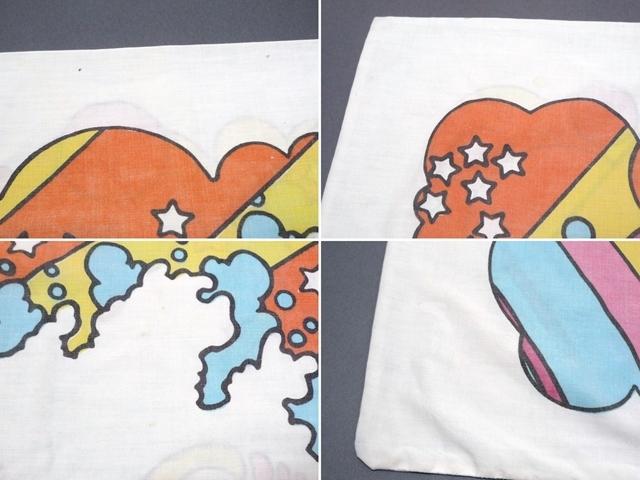 60~70's ビンテージ peter max ピーターマックス ピローケース 枕カバー 横顔 サイケ ヒッピー 両面プリント 50cm×86.5cm 布 飾りに_画像8