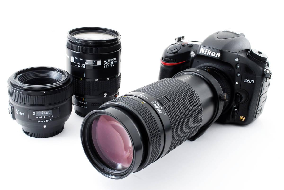 ★極上★Nikon ニコン D600 単焦点&300mm超望遠トリプルレンズセット 新品SD8GB付き