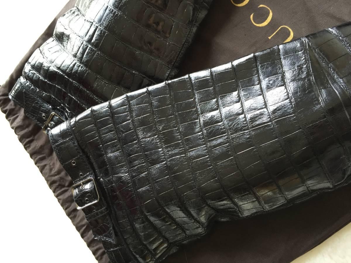 即決 定価180万円 GUCCI グッチ 最高峰モデル 総クロコダイルレザーのニーハイロングブーツ☆37サイズ ブラック_画像3