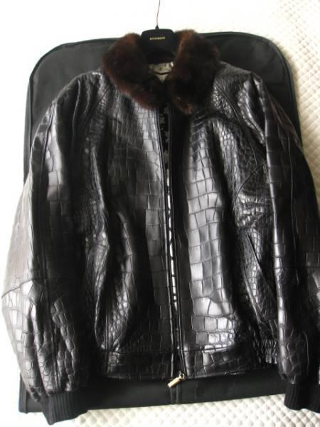 即決 定価1000万円以上 ZILLI ジリー最高峰ミンクファー毛皮付きクロコダイルレザーブルゾン 58サイズ☆ブラック_画像1