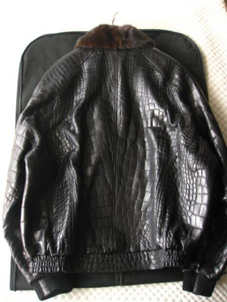 即決 定価1000万円以上 ZILLI ジリー最高峰ミンクファー毛皮付きクロコダイルレザーブルゾン 58サイズ☆ブラック_画像3