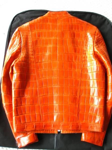 即決  新品未使用 定価1000万円以上 帝国ホテル SHIRO シロ 最高級マットクロコダイルポロサスジャケット 48サイズ☆オレンジ_画像3
