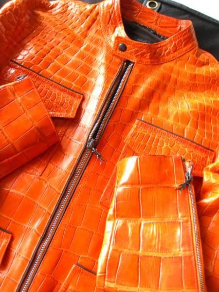 即決  新品未使用 定価1000万円以上 帝国ホテル SHIRO シロ 最高級マットクロコダイルポロサスジャケット 48サイズ☆オレンジ_画像1