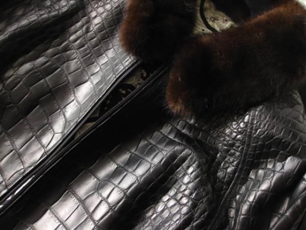 即決 定価1000万円以上 ZILLI ジリー最高峰ミンクファー毛皮付きクロコダイルレザーブルゾン 58サイズ☆ブラック_画像2