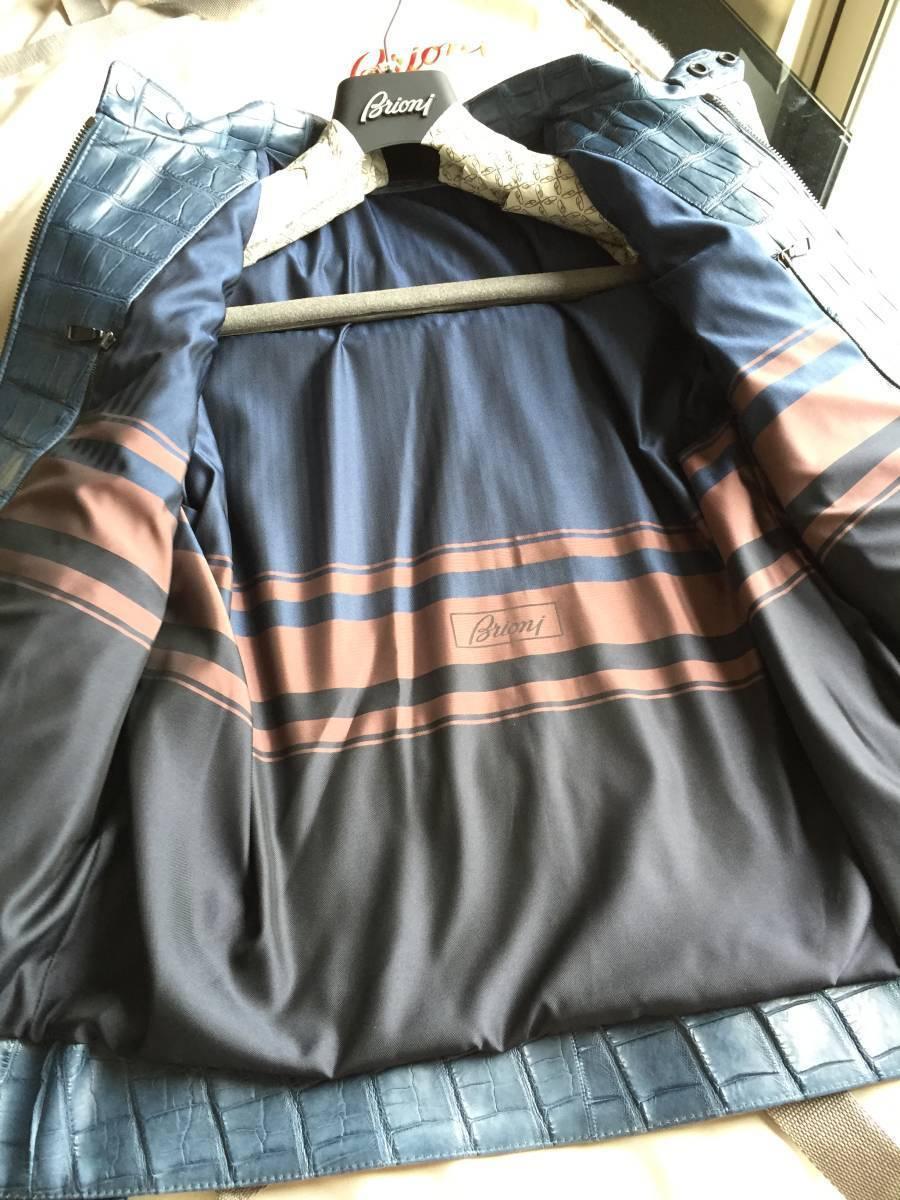 即決 新品タグ、ハンガー付 Brioni  ブリオーニ 最高峰モデル 総クロコダイルレザーバイカージャケット☆48サイズ ブルー_画像8