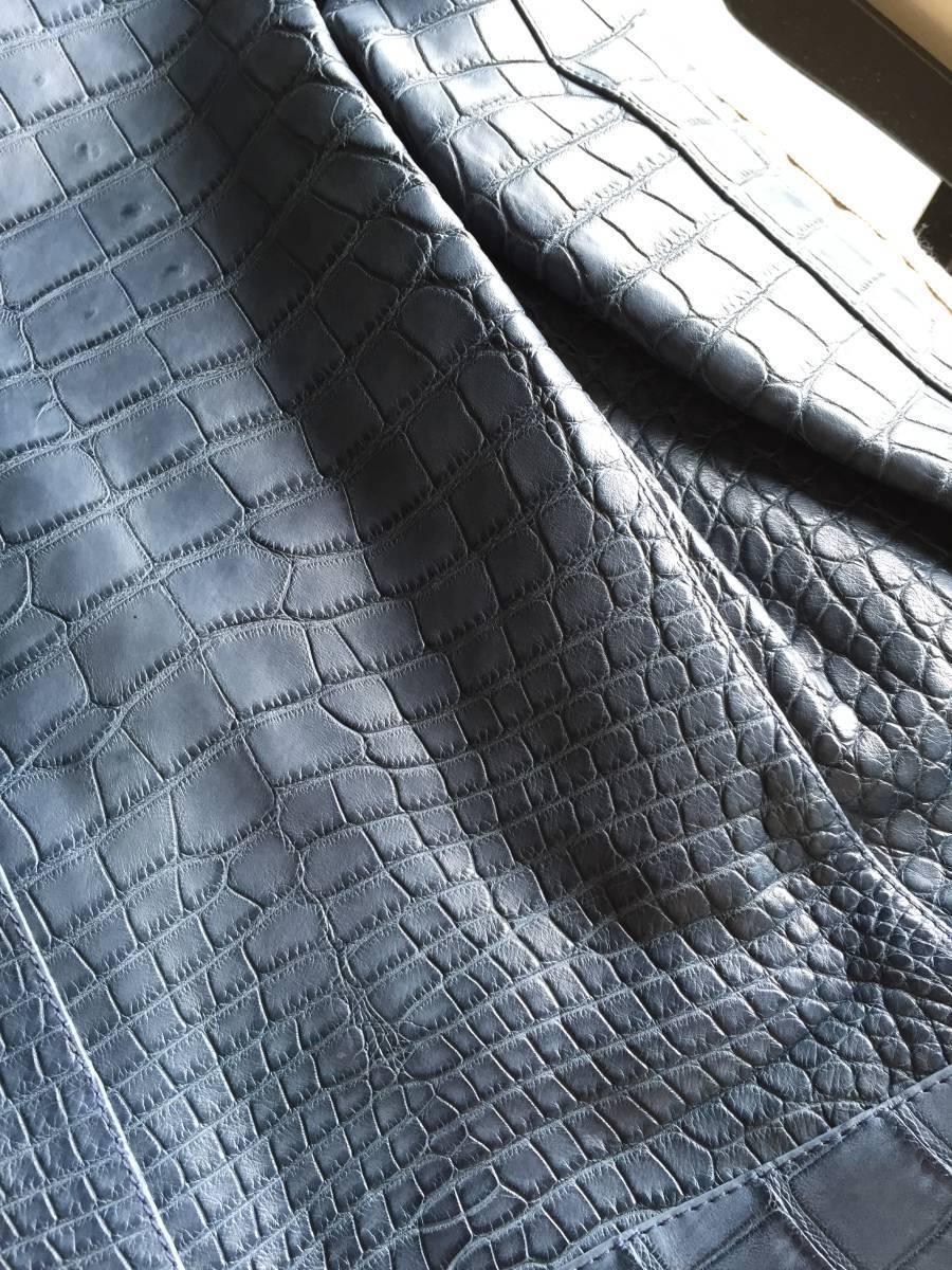 即決 新品タグ、ハンガー付 Brioni  ブリオーニ 最高峰モデル 総クロコダイルレザーバイカージャケット☆48サイズ ブルー_画像7
