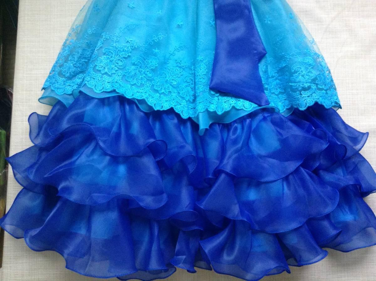 女の子用 ブルー(青色)のドレス(発表会向け) 130-135 未使用 試着のみ ひらひら かわいい リボン_画像4