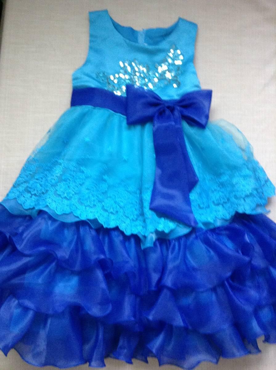 女の子用 ブルー(青色)のドレス(発表会向け) 130-135 未使用 試着のみ ひらひら かわいい リボン_画像1