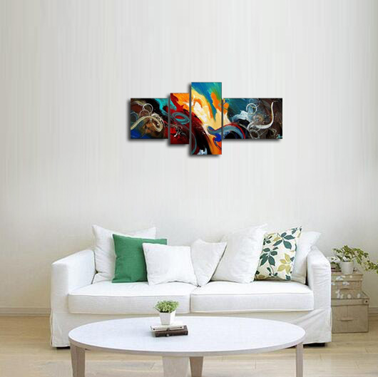 アートパネル 『深海』 40x40cm、1枚他、計4枚組 手描き 壁掛_画像4