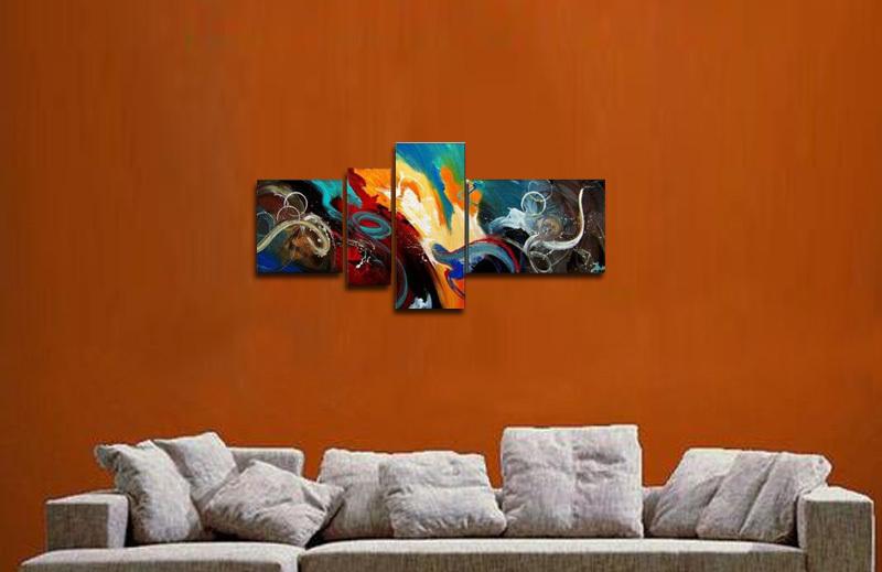 アートパネル 『深海』 40x40cm、1枚他、計4枚組 手描き 壁掛_画像2