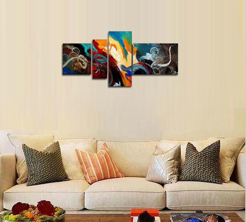 アートパネル 『深海』 40x40cm、1枚他、計4枚組 手描き 壁掛_画像3