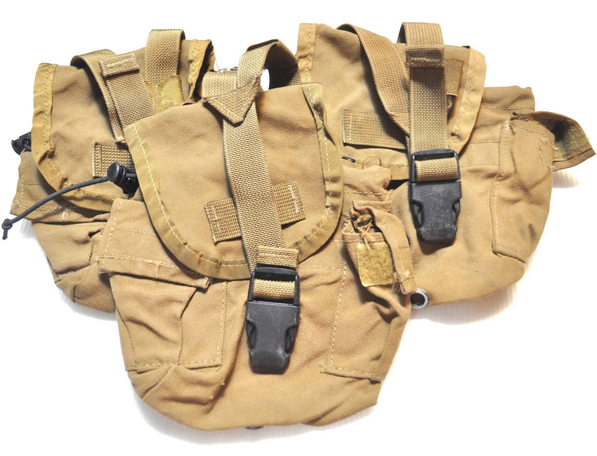 実物 米軍放出品 USMC アメリカ海兵隊 1QT コヨーテキャンティーンポーチセット /水筒 マガジン m4 m16 scar 収納 filbe FSBE リーコン ge_画像1