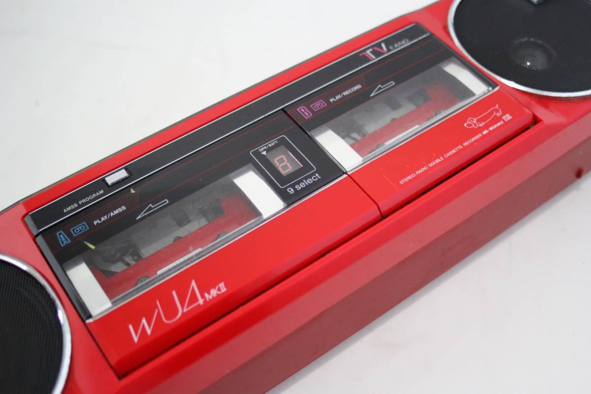 SANYO 三洋 ステレオラジカセジャンク ステレオラジオダブルカセットレコーダー MR-WU4MKⅡ(R) 日本製 アカB_画像3