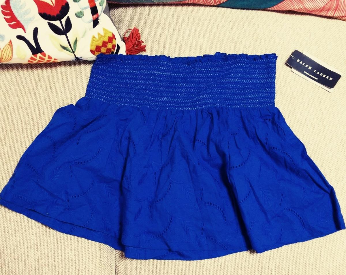 ラルフローレン RALPHLAUREN ブルー 青 スカート ミニスカ ラルフ 未着用 スカラップ 上品 刺繍_画像1