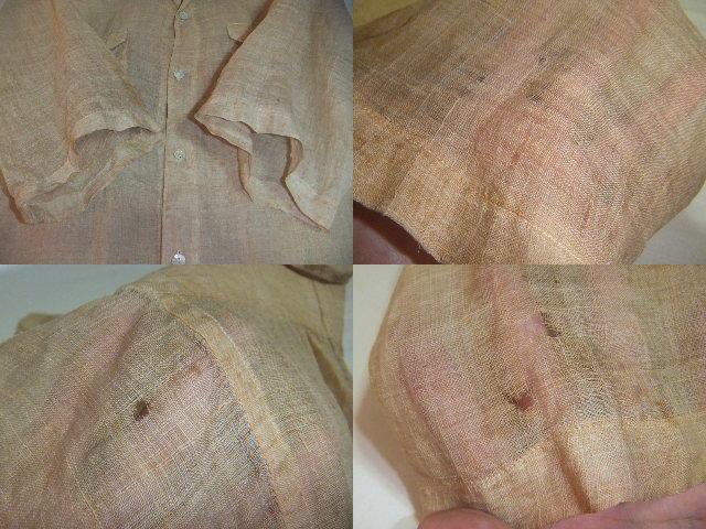 戦前戦中戦後 夏用 麻素材 半袖  S~M中間 シャツ マチ付 旧日本 シェルボタン ビンテージアンティーク普段使いから資料や衣装に_画像5