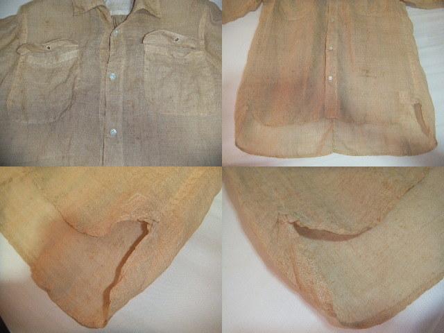 戦前戦中戦後 夏用 麻素材 半袖  S~M中間 シャツ マチ付 旧日本 シェルボタン ビンテージアンティーク普段使いから資料や衣装に_画像6