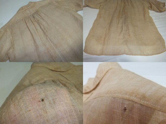 戦前戦中戦後 夏用 麻素材 半袖  S~M中間 シャツ マチ付 旧日本 シェルボタン ビンテージアンティーク普段使いから資料や衣装に_画像7