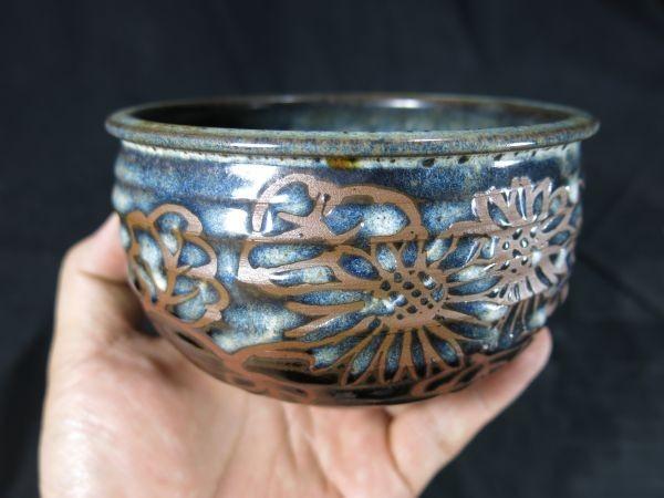 A 青地に花文様茶碗 銘「遠い昔の記憶」 抹茶 陶器 焼き物 茶道 お茶_画像1
