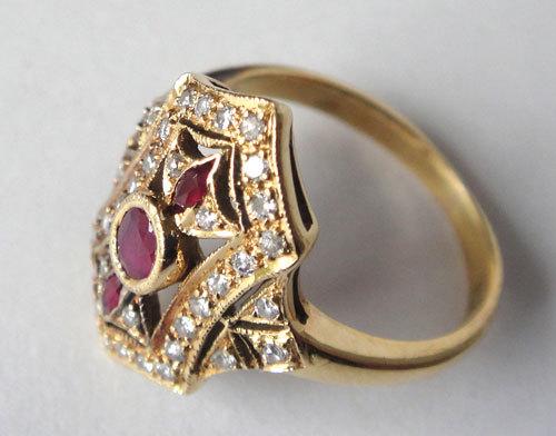 【最終処分】269-1893F16 K18 金 GOLD ゴールド 天然 本物 ルビー ダイヤ アンティーク リング 指輪 10.5号 1円_画像3