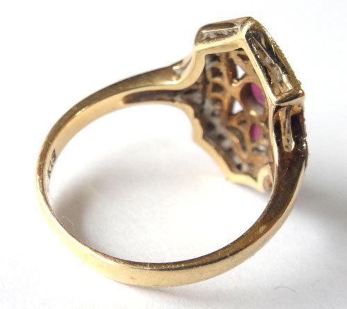 【最終処分】269-1893F16 K18 金 GOLD ゴールド 天然 本物 ルビー ダイヤ アンティーク リング 指輪 10.5号 1円_画像4
