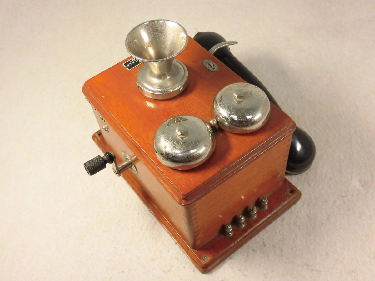 昭和レトロ 【 古い 木製 電話機 デルビル磁石式壁掛電話機?手回し 】 飾り ディスプレイ_画像5