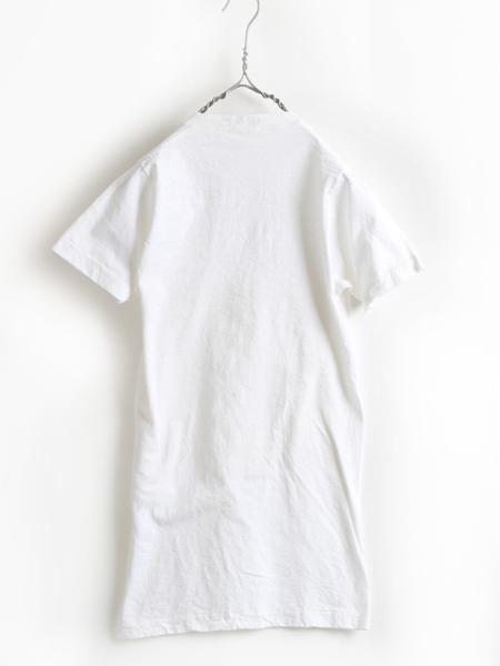 70s 80s USA製 ビンテージ 希少サイズ S ■ Healthknit ヘルスニット Vネック 半袖 Tシャツ 白 ( メンズ 男性 ) 古着 70年代 80年代 無地_画像4