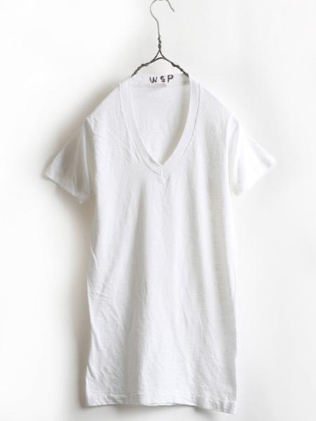 70s 80s USA製 ビンテージ 希少サイズ S ■ Healthknit ヘルスニット Vネック 半袖 Tシャツ 白 ( メンズ 男性 ) 古着 70年代 80年代 無地_画像1