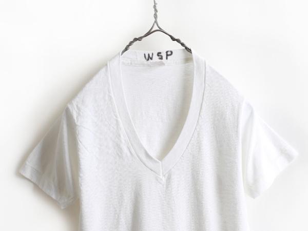70s 80s USA製 ビンテージ 希少サイズ S ■ Healthknit ヘルスニット Vネック 半袖 Tシャツ 白 ( メンズ 男性 ) 古着 70年代 80年代 無地_画像2