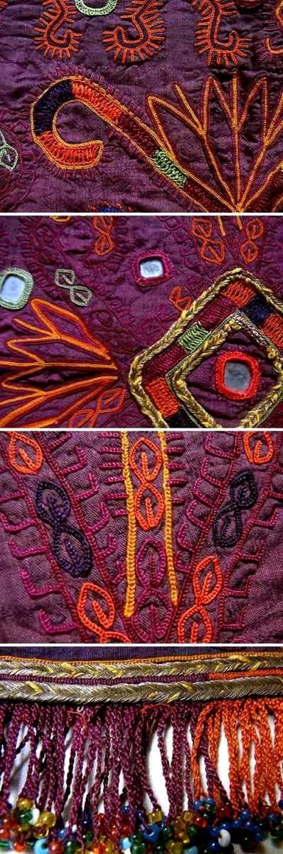アフガニスタン・ガズニー パシュトゥーン系遊牧民 貴重な20c前期の婚礼用・刺繍掛け布 撚銀糸&無数のグラスビーズ 稀少完美品_画像4