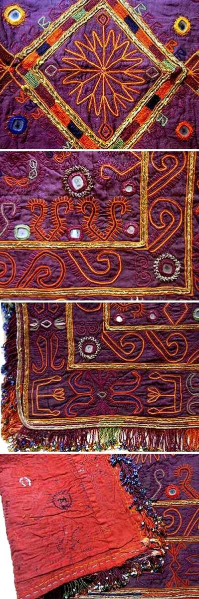 アフガニスタン・ガズニー パシュトゥーン系遊牧民 貴重な20c前期の婚礼用・刺繍掛け布 撚銀糸&無数のグラスビーズ 稀少完美品_画像3